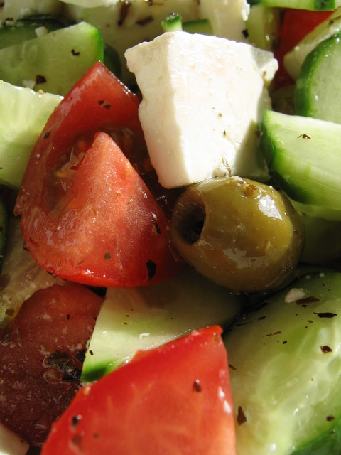 A Greek salad:  http://www.Greece-Travel-Secrets.com/Corfu-Food-and-Drink.html