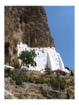 Panagia Chosoviotissa on Amorgos in the Cyclades Islands of Greece, pinned from http://www.greece-travel-secrets.com/Amorgos.html