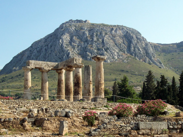 Ancient Corinth with Upper Corinth in the background