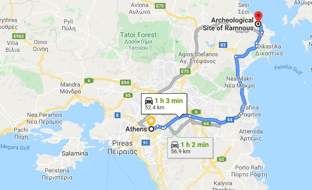 Route from Athens to Rhamnous
