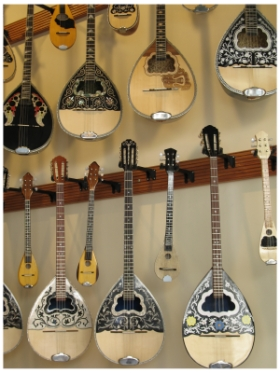Musical Instruments for sale in the Plaka in Athens, photo (c) Donna Dailey, from Athens in the Rain: https://www.greece-travel-secrets.com/Athens-in-the-Rain.html
