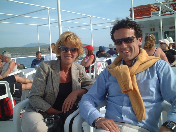 Ben and Ingrid of Sipa Tours on the Boat to Albania from Corfu