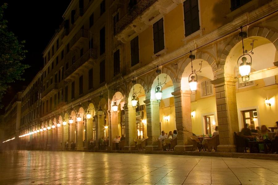 The Liston in Corfu Town at Night