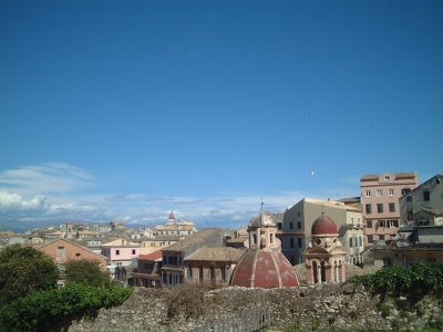 Blue skies over Corfu Town, photo (c) Mike Gerrard from http://www.greece-travel-secrets.com/Corfu-Climate.html