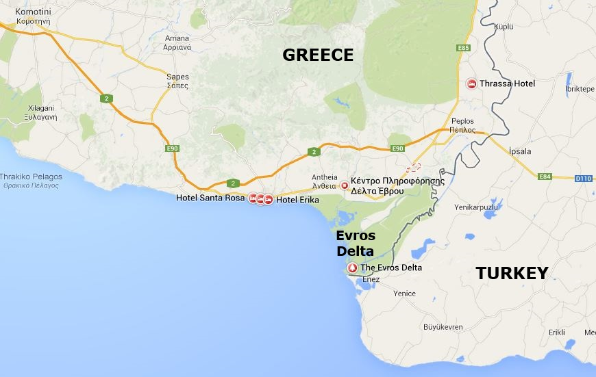 Google Map showing the Evros Delta National Park in Thrace, Greece, from https://www.greece-travel-secrets.com/Evros-Delta.html