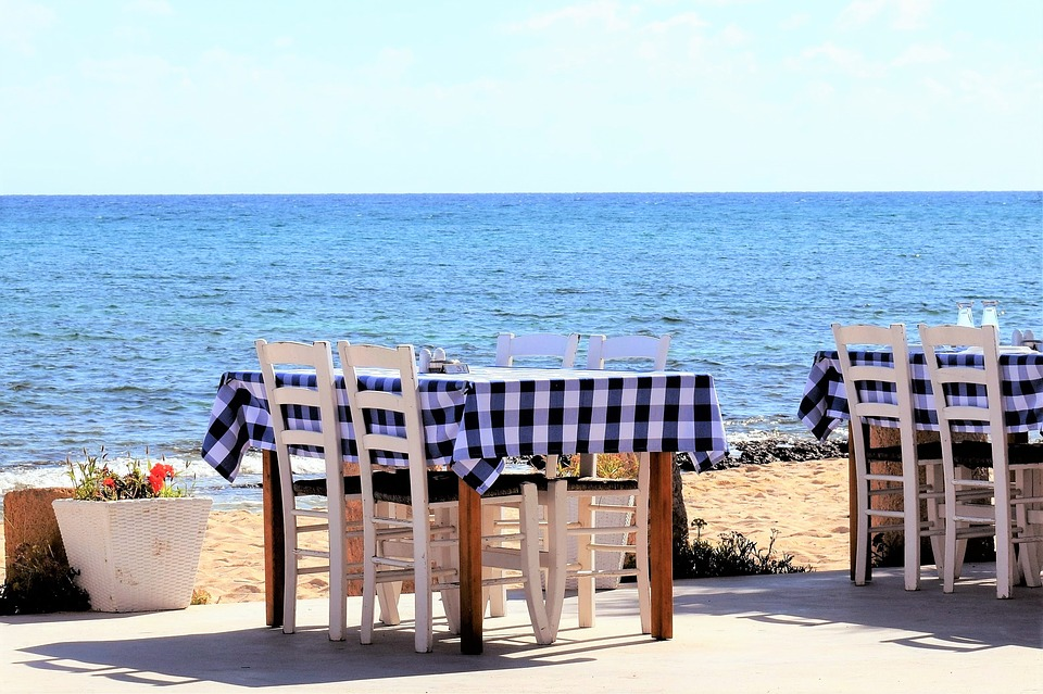 Greek taverna with blue tablecloths