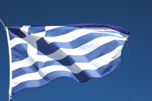The modern Greek flag, from a History of Athens on Greece Travel Secrets