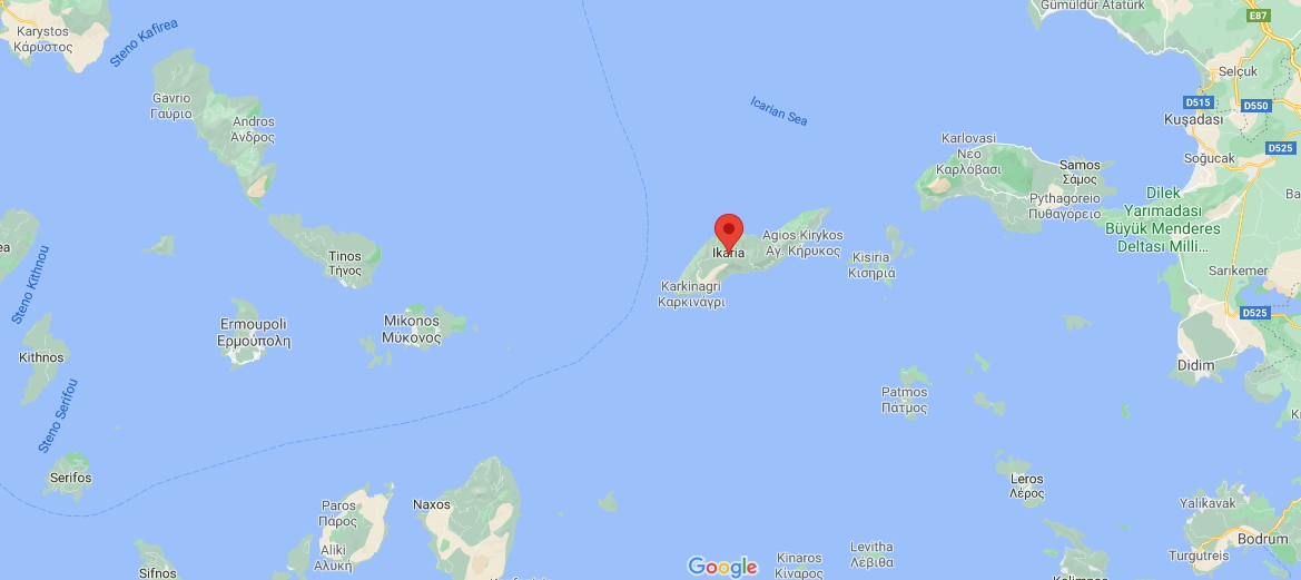 Google Map showing Ikaria in the North-East Aegean Islands of Greece