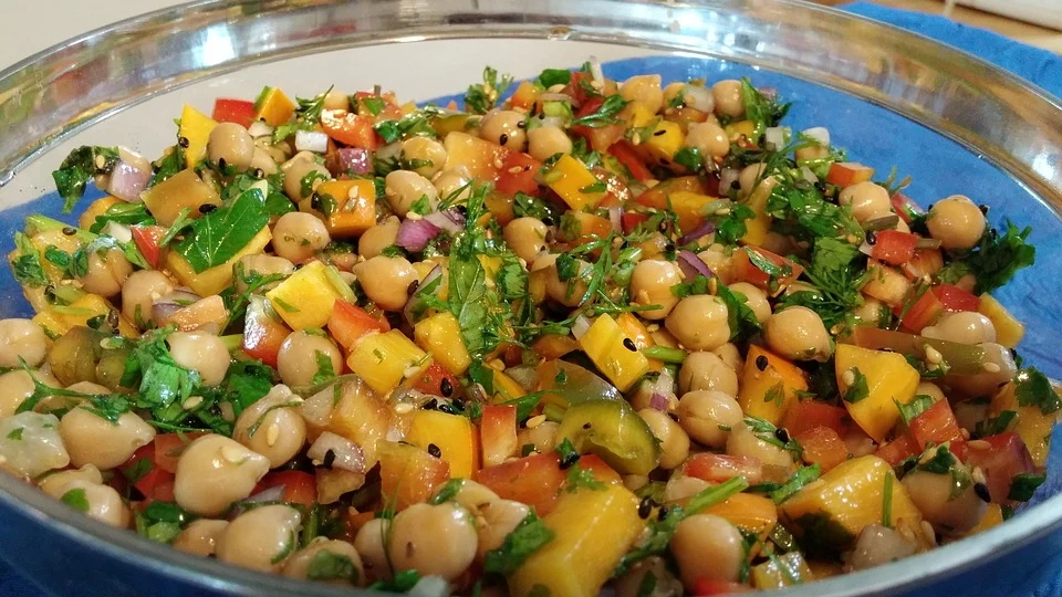 Plate of chick pea salad from Ikaria in the North-East Aegean Islands of Greece