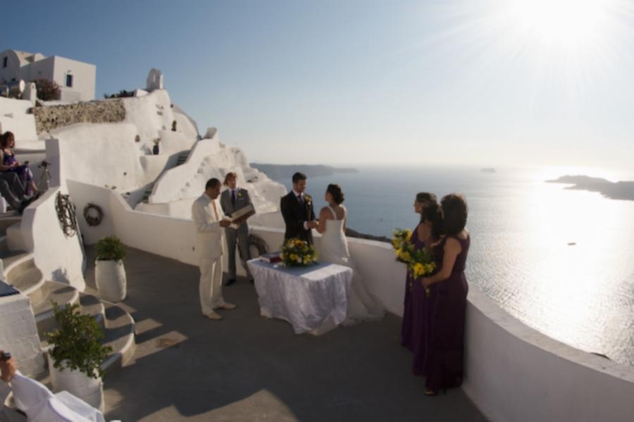 Getting married on Santorini, from http://www.greece-travel-secrets.com/Weddings-in-Greece.html