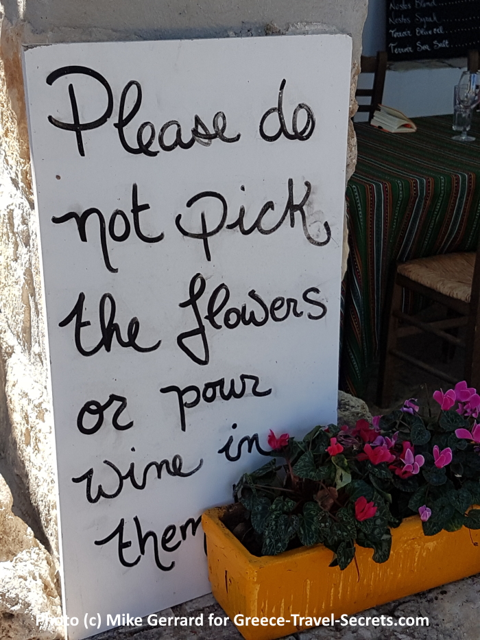 Sign at the Manousakis winery on Crete