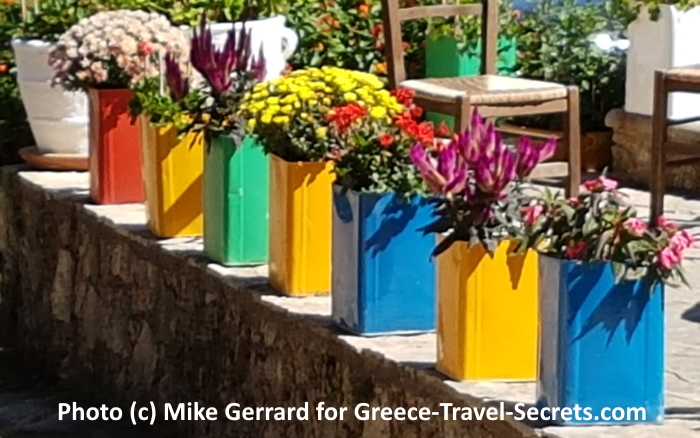 Flowers in old cans on Crete