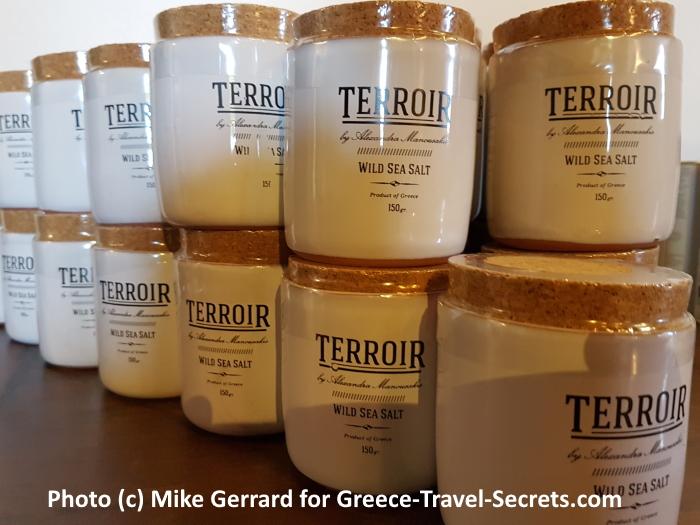 Pots of wild sea salt on Crete