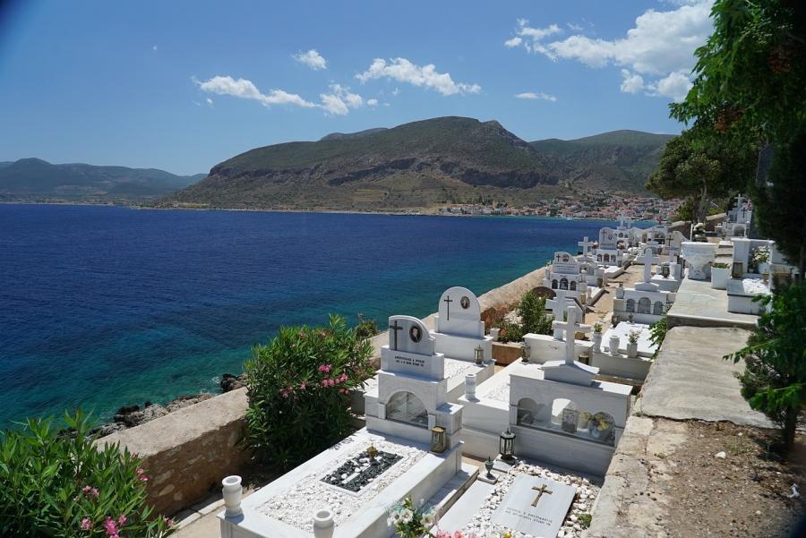 Cemetery in Monemvasia in Greece