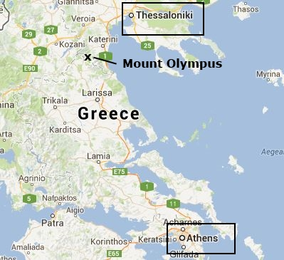 Mount Olympus The Highest Mountain In Greece - Olympus map