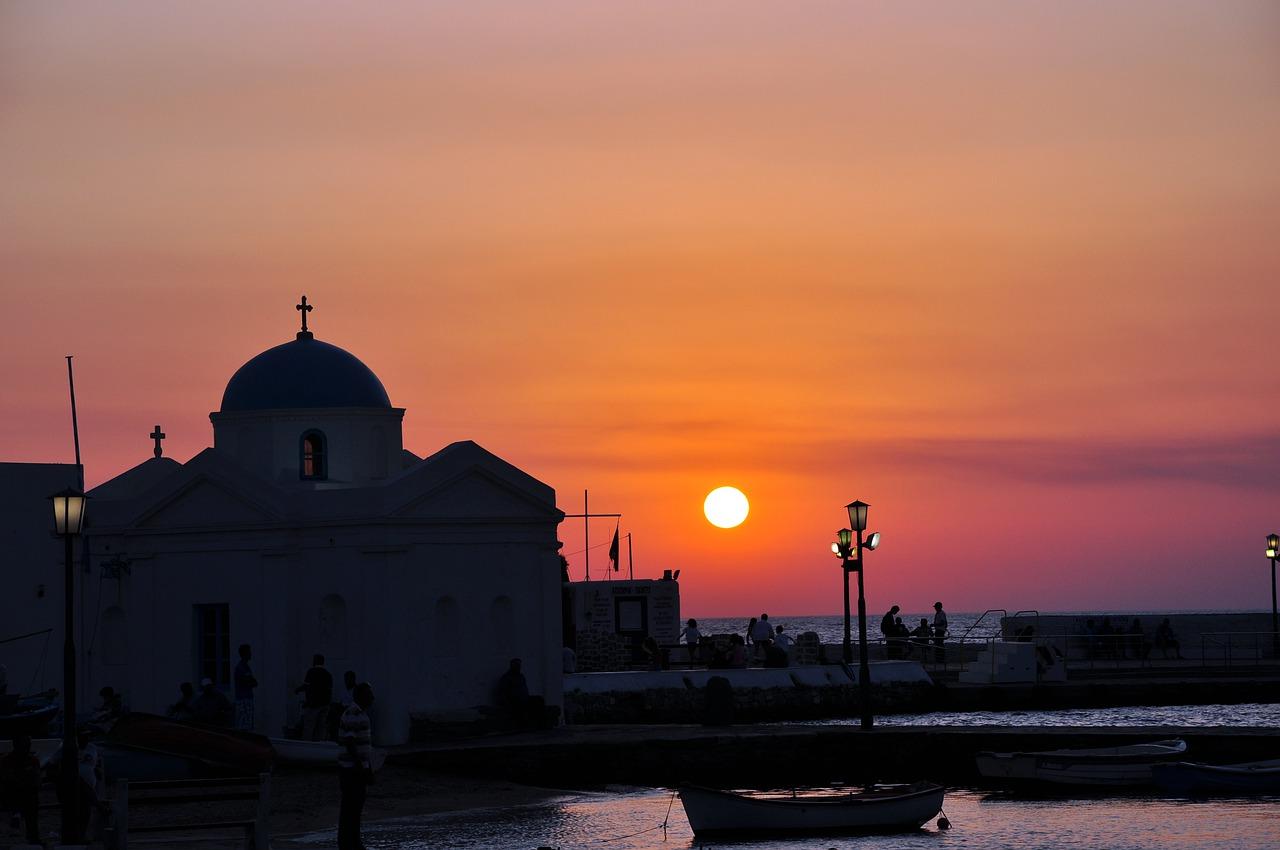 Church of Panagia Paraportiani at sunset on Mykonos