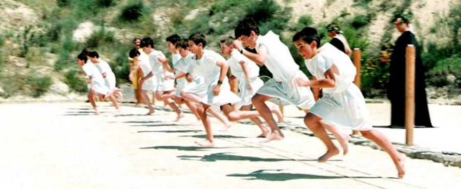Boys running in the Nemean Games in Greece