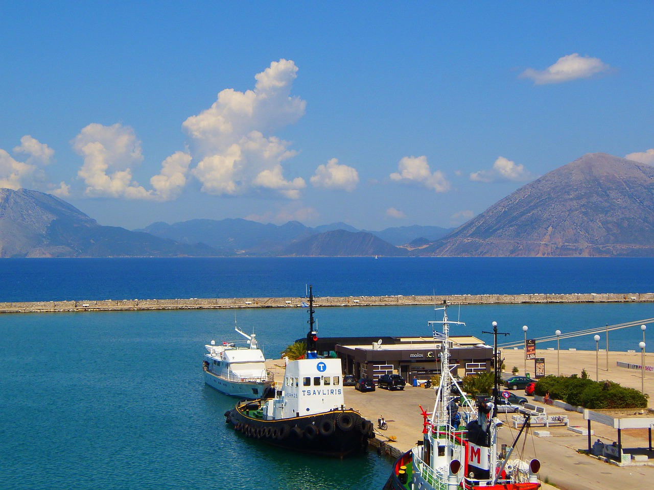 Part of the Harbour at Patras in the Peloponnese, Greece