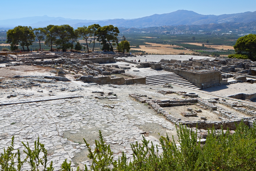 Phaistos Minoan Palace on Crete, pinned from https://www.greece-travel-secrets.com/Phaistos.html