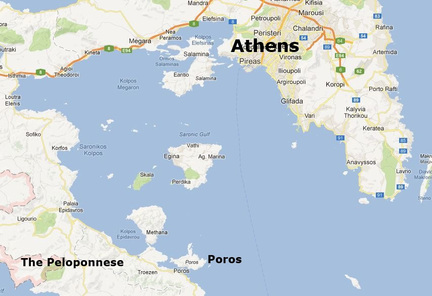 Poros Greece Map.Poros Greece Map Citiestips Com