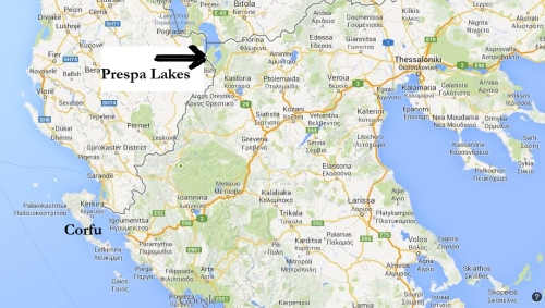 Map showing location of the Prespa Lakes