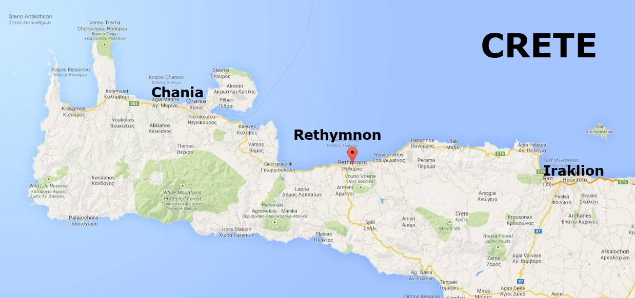 Map of Crete showing Rethymnon