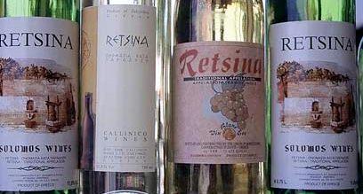 Retsina bottles at The Mantalena Restaurant on Zakynthos: https://www.greece-travel-secrets.com/Life-as-a-Waiter-on-Zakynthos.html