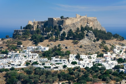 Lindos on Rhodes in the Dodecanese Islands of Greece, from https://www.greece-travel-secrets.com/Rhodes.html