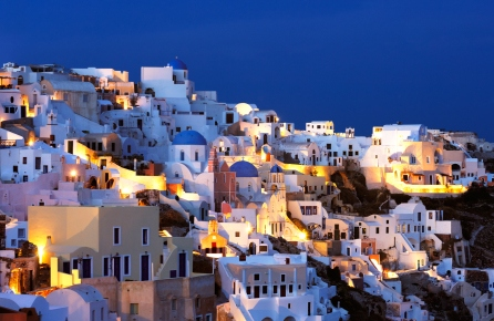 Dusk at Oia on Santorini in the Cyclades Islands of Greece: http://www.greece-travel-secrets.com/Santorini.html