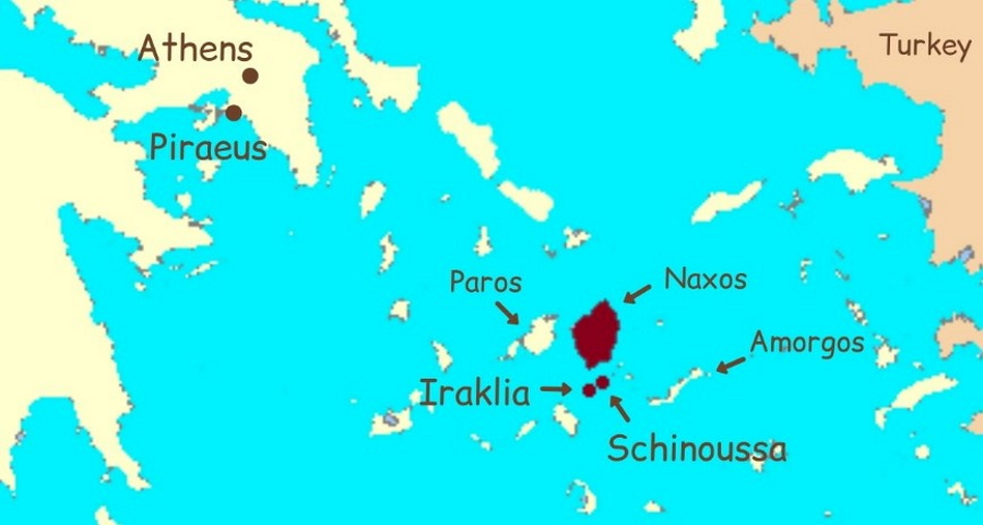 Location map for Schinoussa and Iraklia