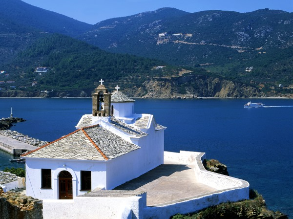 Skopelos in the Sporades Islands: https://www.greece-travel-secrets.com/Skopelos.html