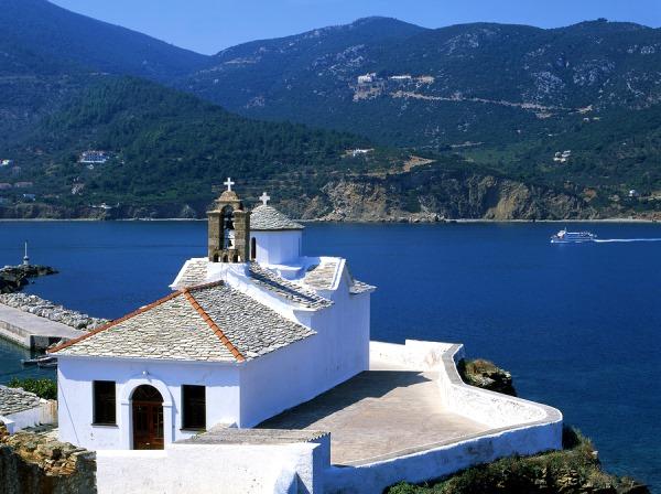 Skopelos in the Sporades Islands: http://www.greece-travel-secrets.com/Skopelos.html