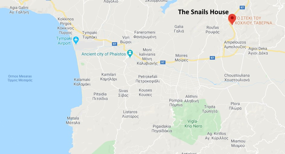 Google map showing the location of The Snails House in Plouti on Crete