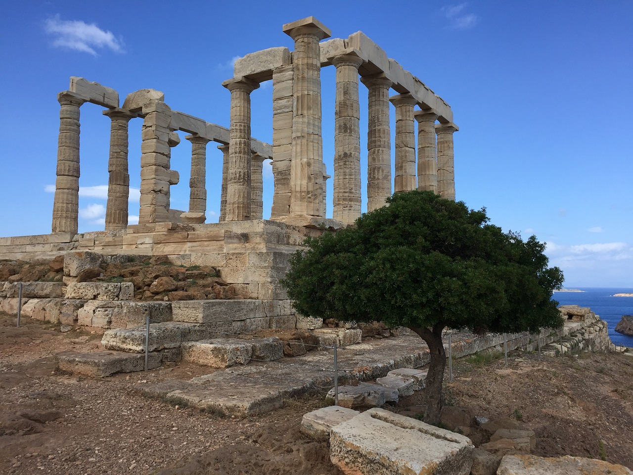 Temple of Poseidon on Cape Sounion in Attica, Greece