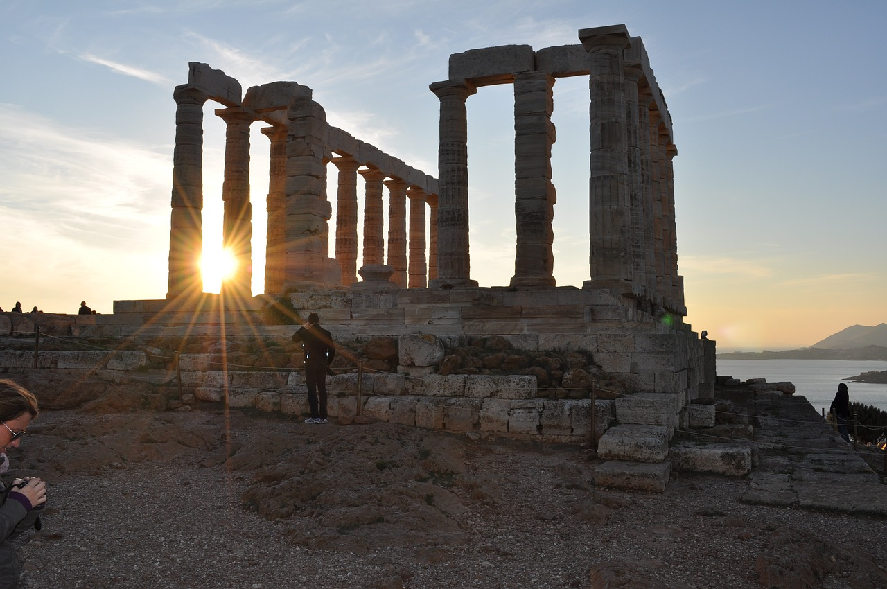 Temple of Poseidon at Cape Sounion at sunset