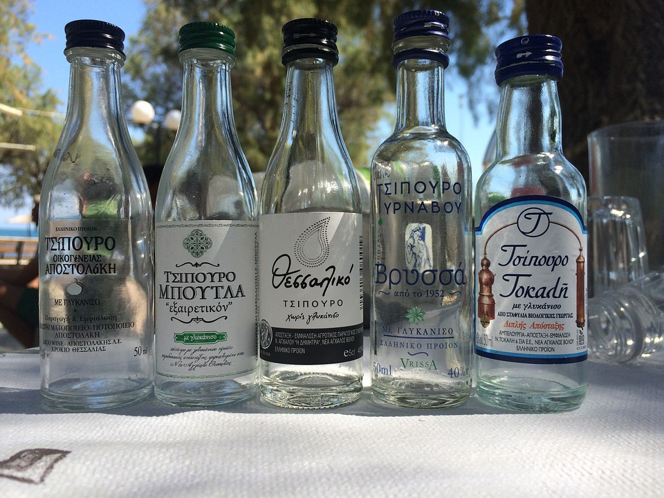 Bottles of the Greek alcoholic drink tsipouro