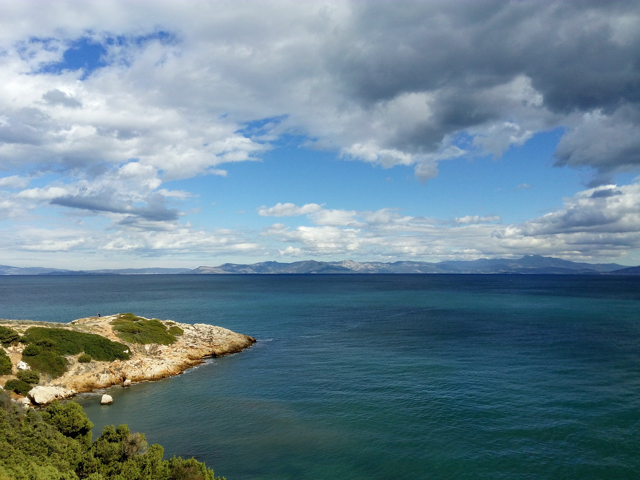 View from Rafina in Attica towards the island of Evia in Greece