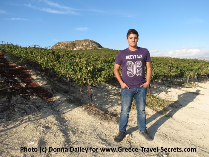 Andreas Zacharioudakis in the vineyards at the Zacharioudakis Winery on Crete