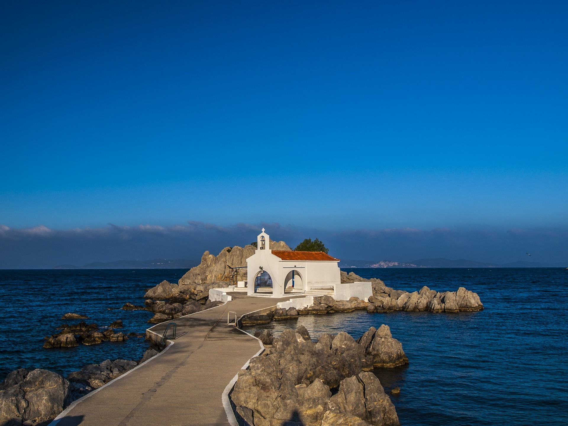 Church by the water on the Greek island of Chios