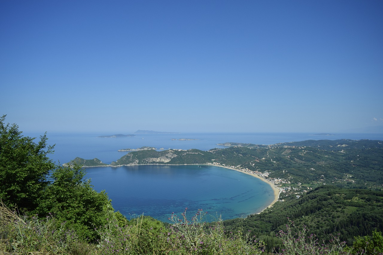 A bay and beach on Corfu in the Greek Ionian islands