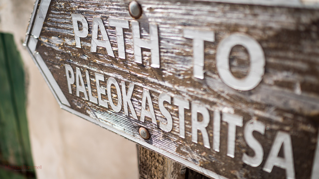 Sign for a footpath to Palaiokastritsa