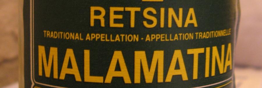 Malamatina retsina label