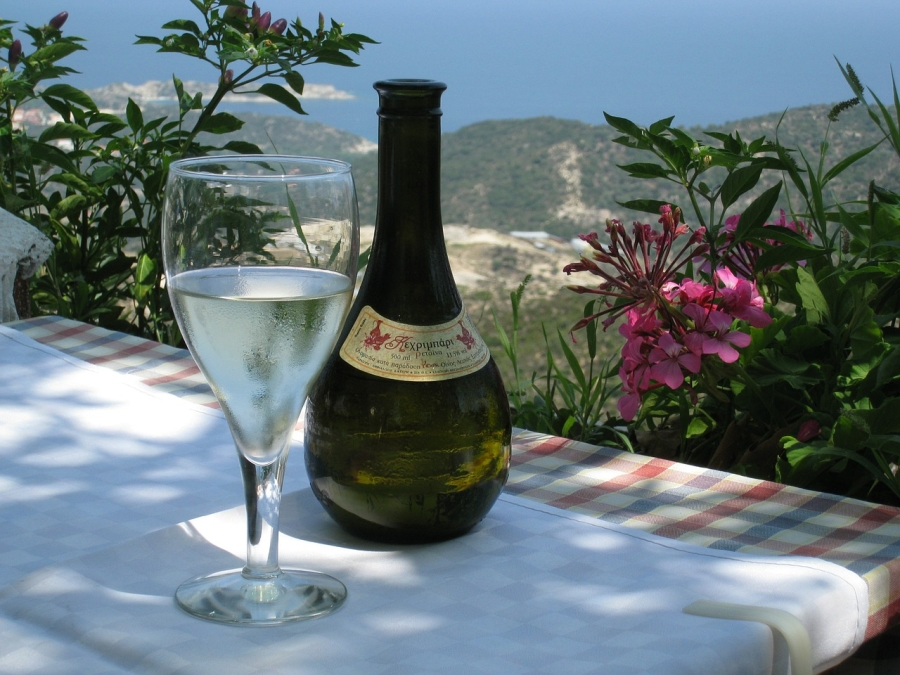 Bottle and Glass of Retsina in Greece
