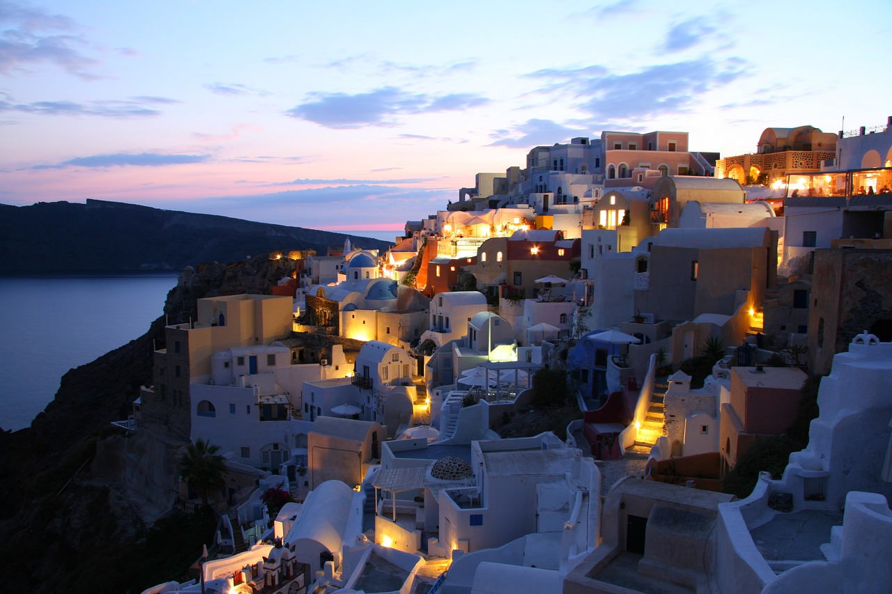 The sun going down on Santorini in the Cyclades Islands of Greece