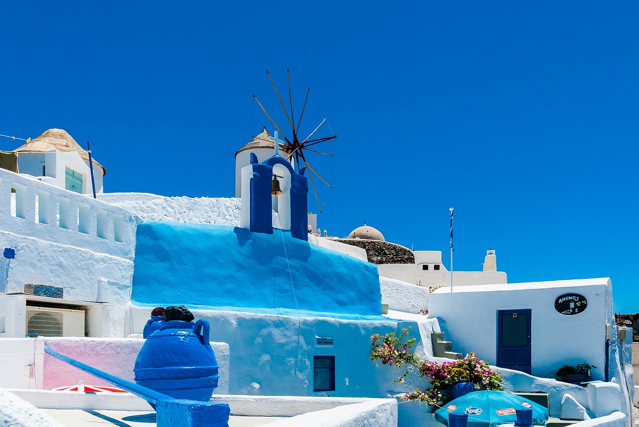 Blue and white architecture on Santorini in the Cyclades Islands of Greece