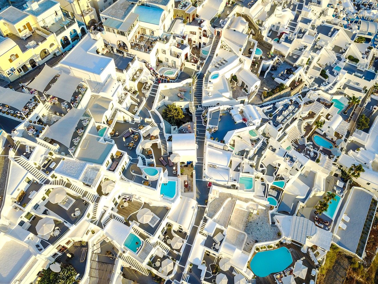 A drone's eye view of Santorini in the Cyclades Islands of Greece