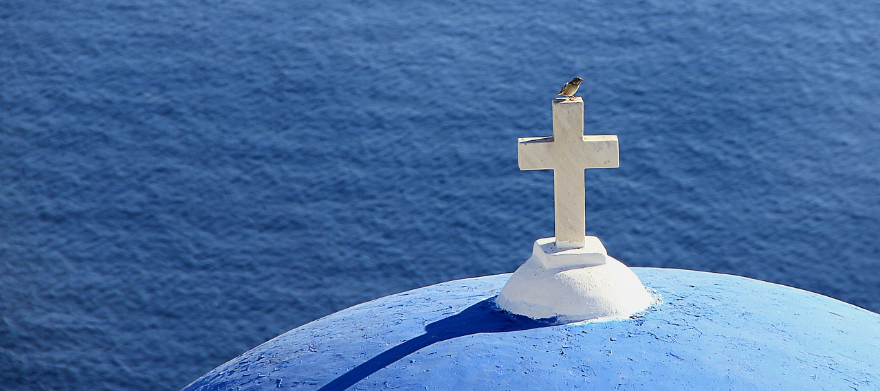 Blue dome of a church on Santorini in the Cyclades Islands of Greece
