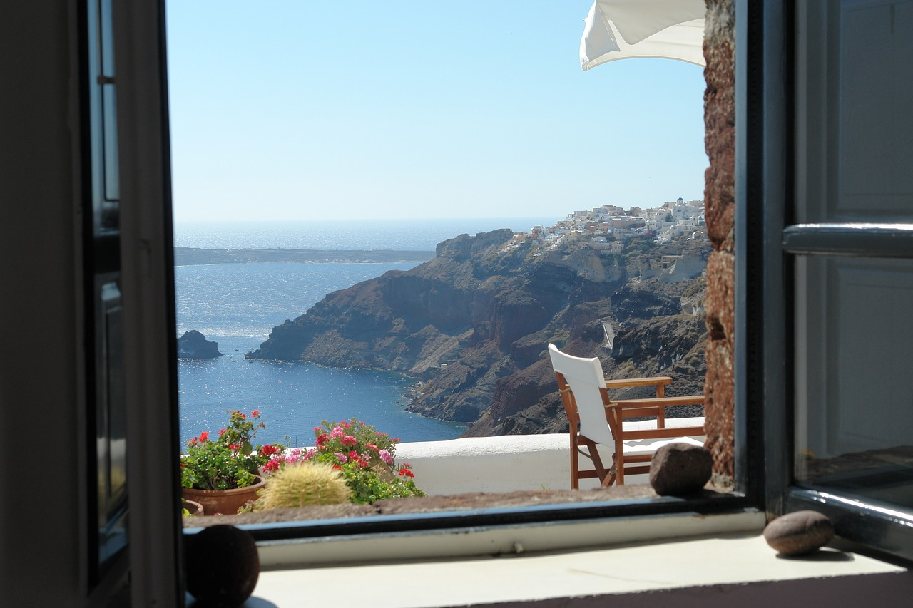 A room with a view on Santorini in the Cyclades Islands of Greece