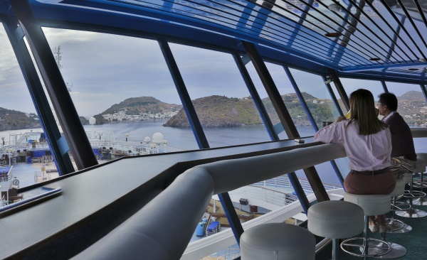 The Sky Bar on celestyal Cruises' ship Olympia, from https://www.greece-travel-secrets.com/Greek-food-and-drink-cruises.html