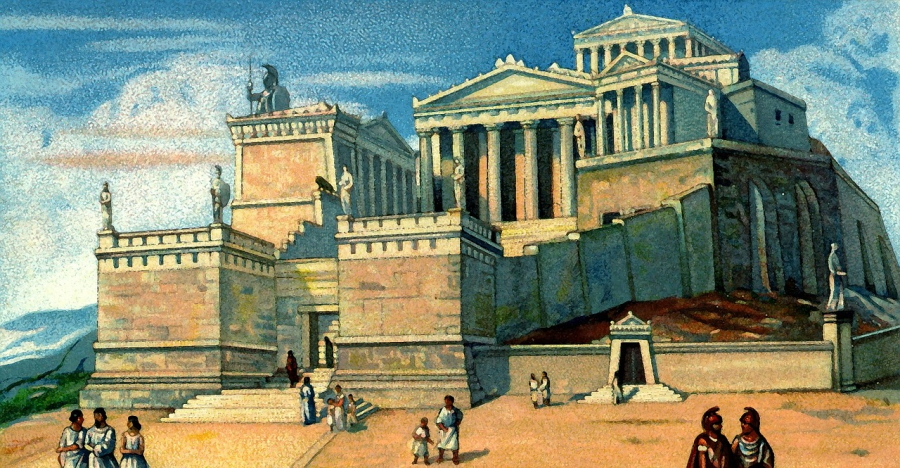Artist Reproduction of what the Acropolis in Athens used to look like